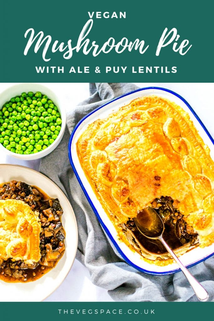 This Vegan Mushroom Pie with Ale & Puy Lentils is a hearty comfort food supper - perfect with roast potatoes, chunky chips or mash! #vegan #vegetarian #plantbased