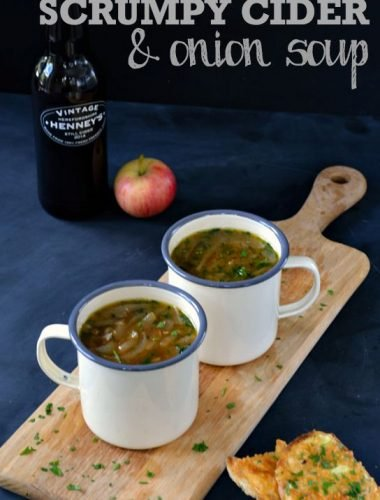 Scrumpy Cider & Onion Soup with Welsh Rarebit Croutons