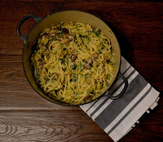 Skinny Carbonara with Chestnut Mushrooms and Brussels Sprouts
