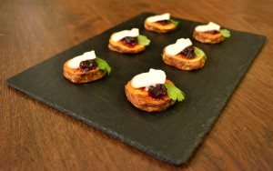 Sweet Potato Rounds with Goat's Cheese and Cranberry