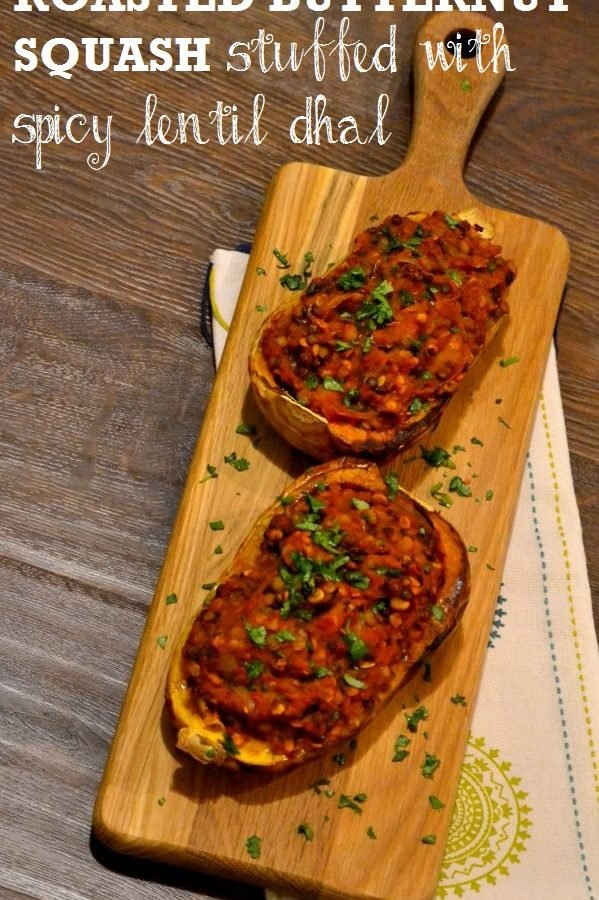 Roasted Butternut Squash stuffed with spicy lentil dhal