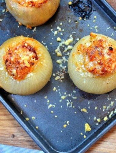 Recipe: Baked Onions with Hazelnut, Sultana & Feta Stuffing