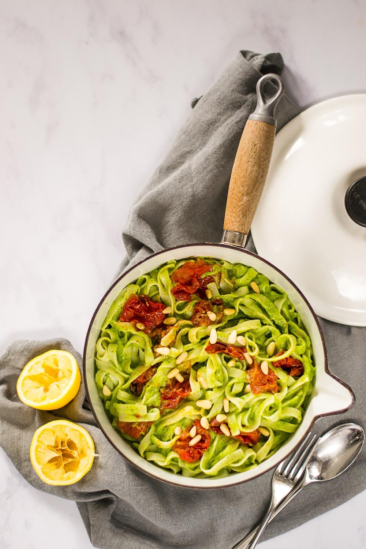 Tagliatelle with Avocado & Spinach Pesto | Vegan