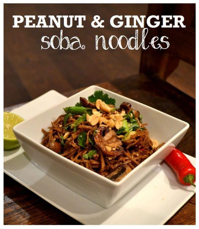 Peanut & Ginger Soba Noodles with Chestnut Mushrooms