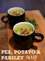 Recipe: Pea, Potato & Parsley Soup with blue cheese breadcrumbs