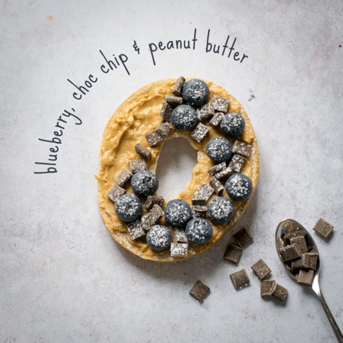 Blueberry, Choc Chip & Peanut Butter Bagel