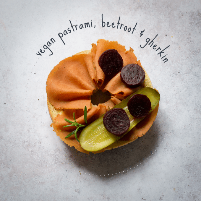 Vegan Pastrami, Beetroot & Gherkin Bagel