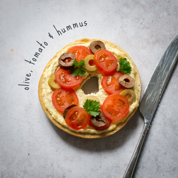 Olive, Tomato & Hummus Bagel Topping