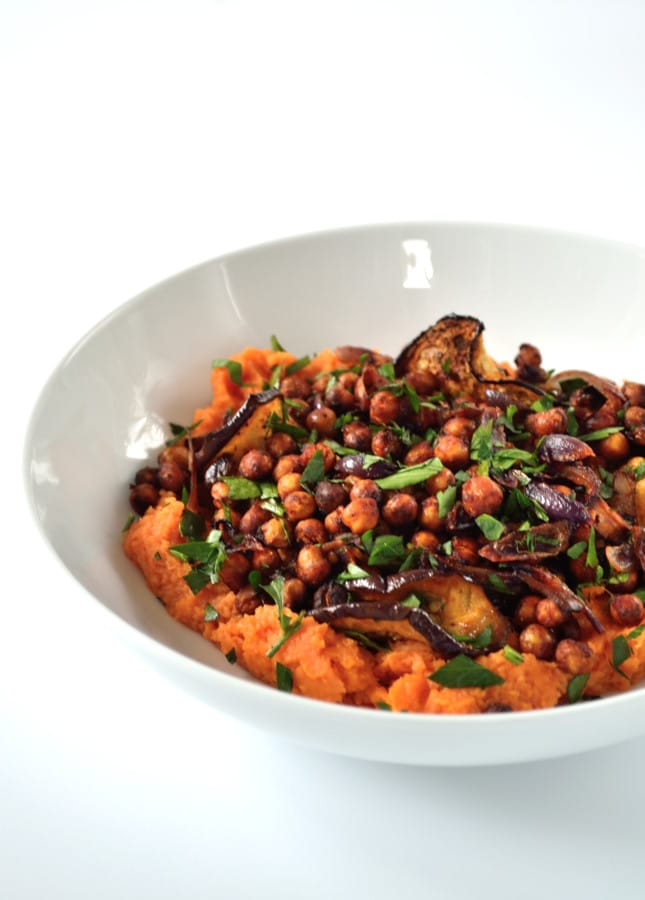 Harissa Roasted Chickpeas & Aubergine with Sweet Potato Mash | The Veg Space