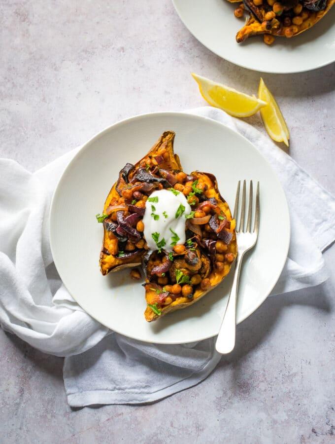 Aubergine & Sweet Potato with harissa chickpeas