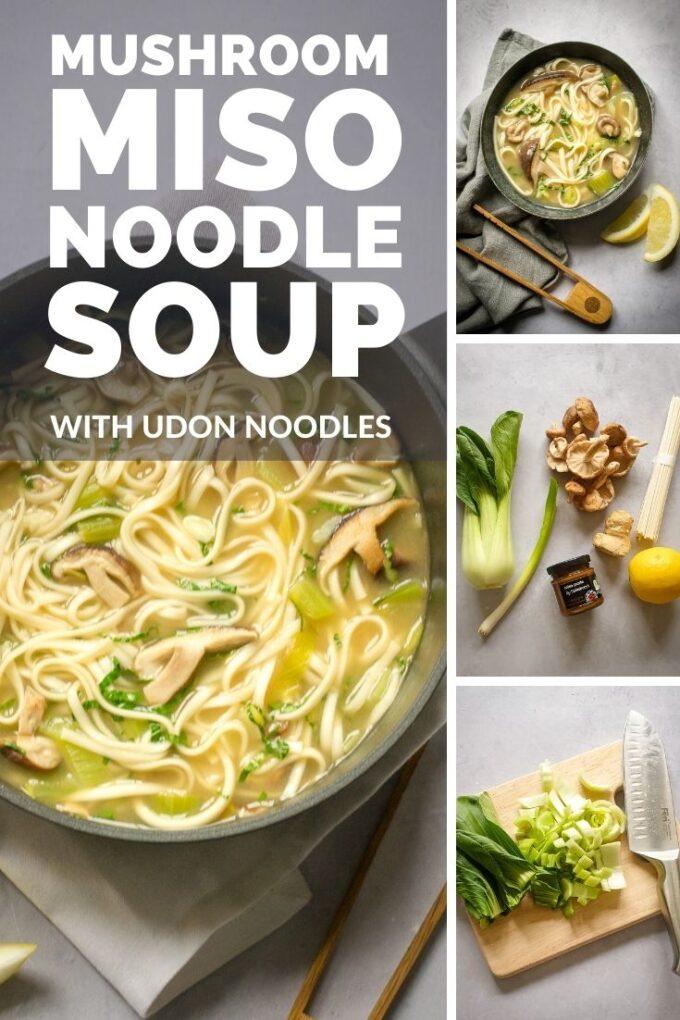 Pinterest pin for shiitake mushroom noodle soup