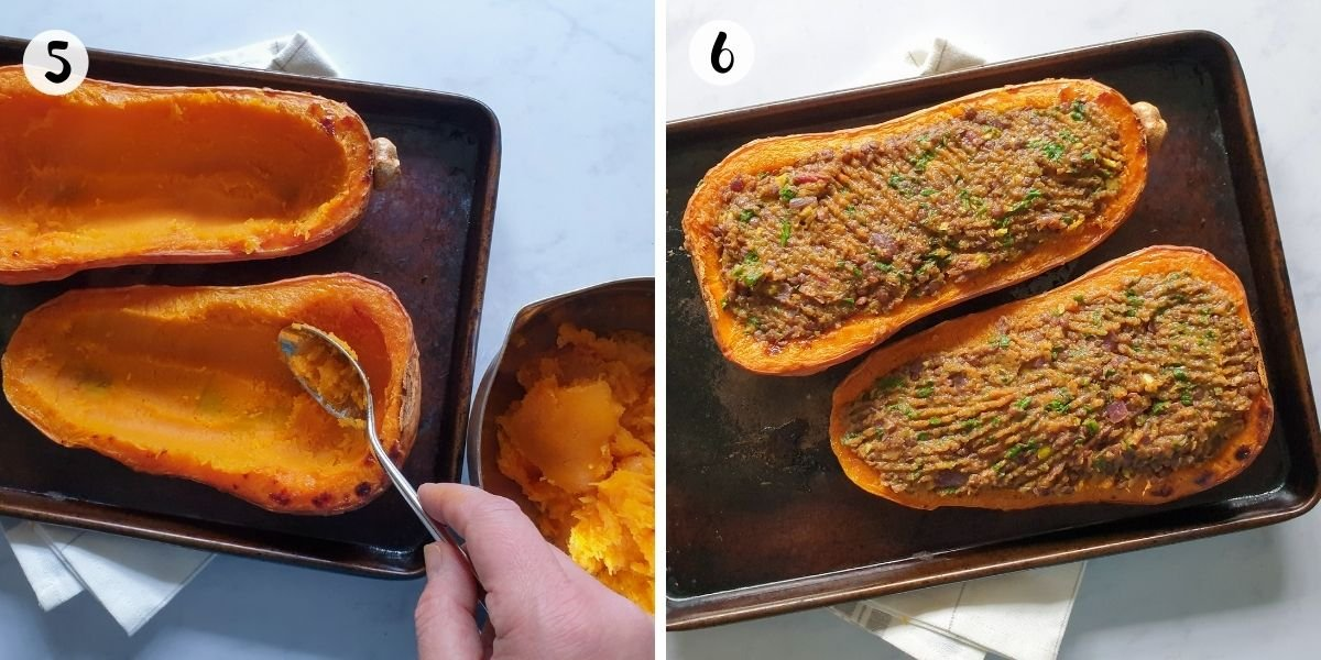 Scoop out flesh of butternut squash then stuff.