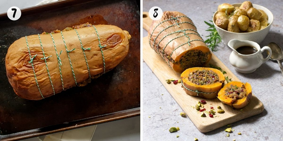 Tie squash roast up with string then bake