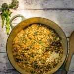 Purple Sprouting Broccoli Farro Risotto Bake