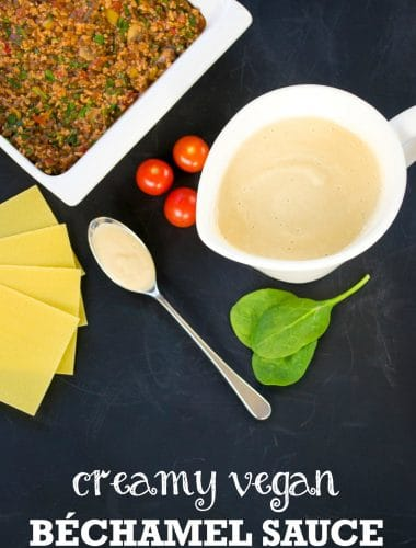 This creamy vegan bechamel sauce is totally delicious, and simple to make. Perfect for lasagne, pasta bakes and all sorts of other sauce ideas. #vegan #plantbased #vegetarian