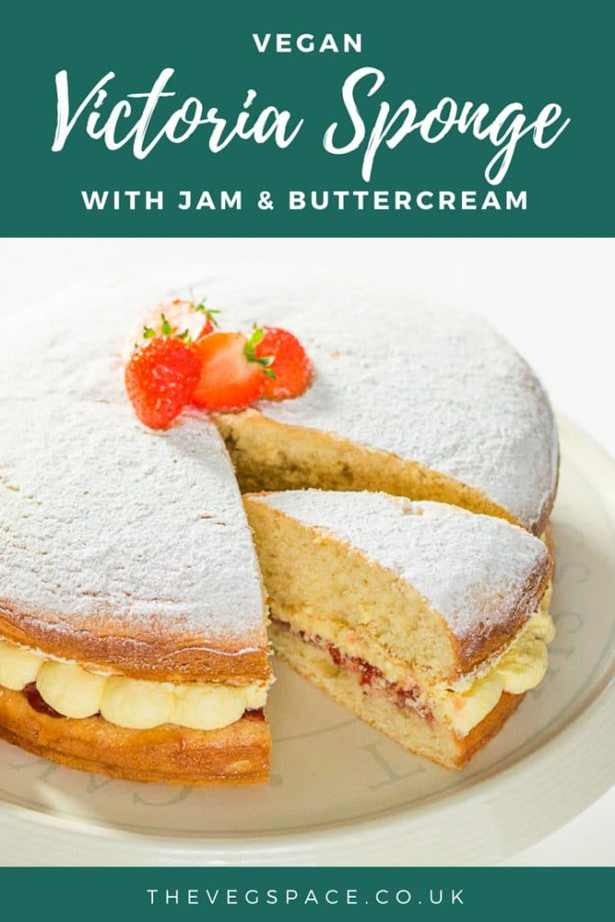 This light and fluffy vegan Victoria Sponge filled with jam and buttercream is so good no one will believe it is vegan! #vegan #plantbased #veganfood #vegancake