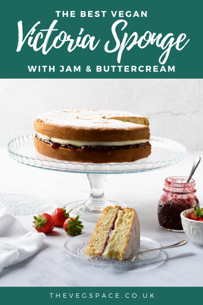 This light and moist Vegan Victoria Sponge Cake is so easy to make. Filled with jam and buttercream - a traditional British teatime treat #vegan #TheVegSpace