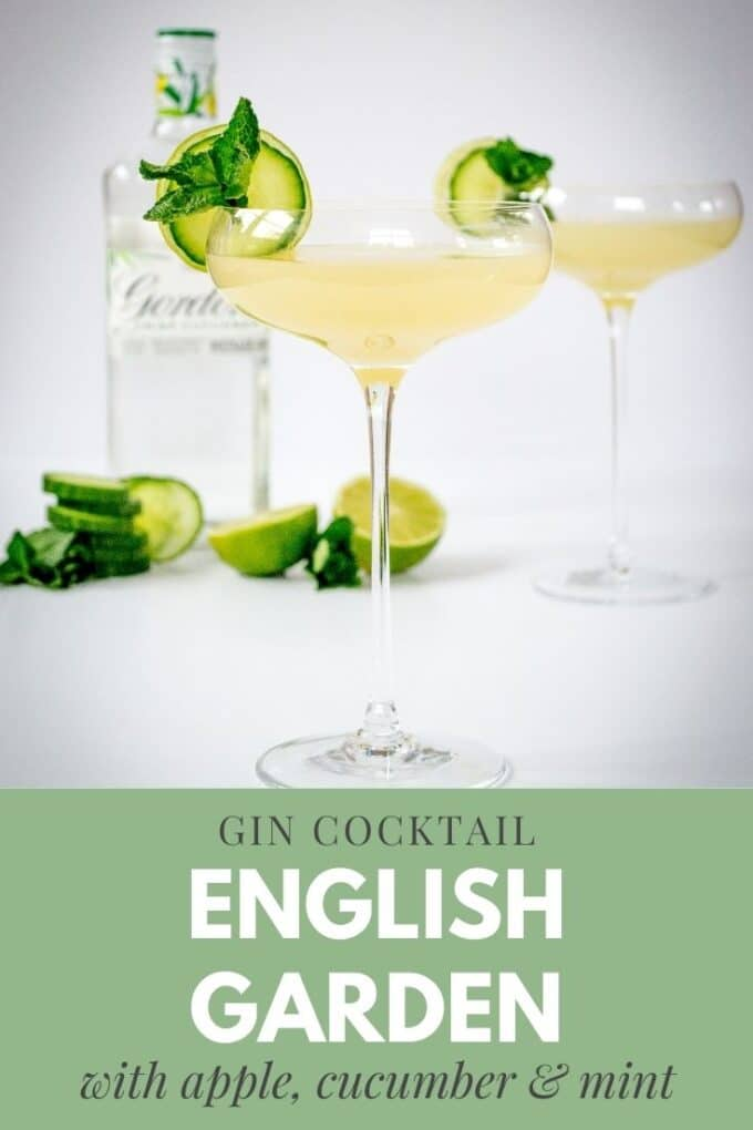 This pretty English Garden Cocktail of cucumber gin, apple juice and mint is a one-unit cocktail, a perfect light tipple for pre-dinner drinks. #Cocktail #TheVegSpace