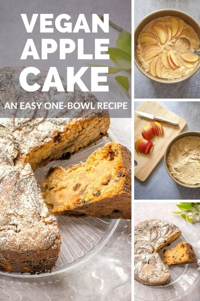 A rustic vegan apple cake with crunchy demerara topping, studded with juicy sultanas and big chunks of apple. The perfect vegan teatime treat. #Vegan #TheVegSpace