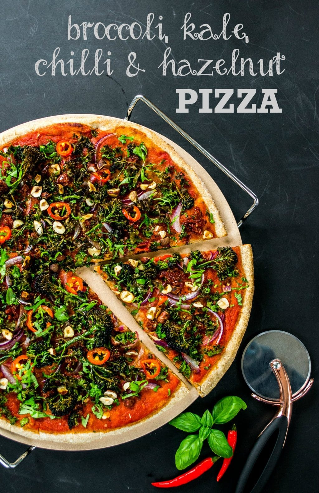 Broccoli, Kale, Chilli & Hazelnut Vegan Pizza