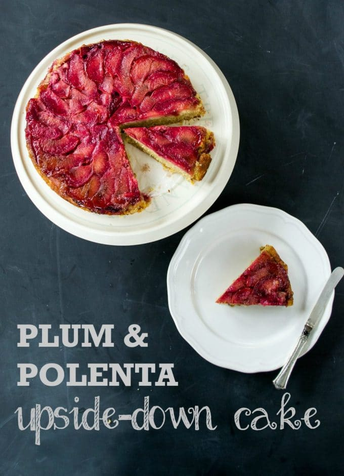 This pretty vegan polenta cake is surprisingly easy to make, with no weird ingredients! Bake it upside down with the plums on the bottom, then turn out for your stunning vegan dessert. #vegan #plantbased #veganfood