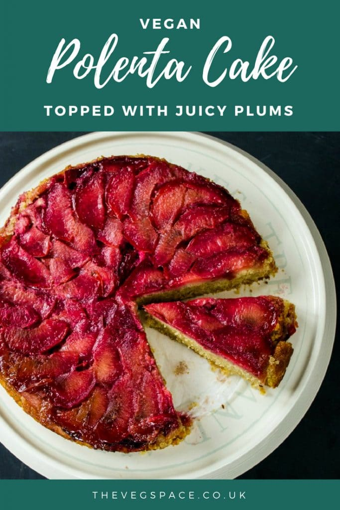 This vegan polenta cake is topped with juicy plums - a perfect vegan teatime treat! Easy to make and totally delicious. #vegan #plantbased #veganfood #vegancake