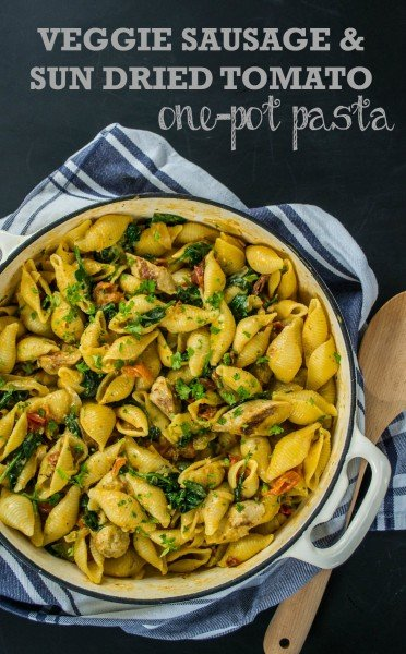 Veggie Sausage & Sun Dried Tomato One Pot Pasta