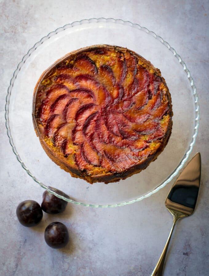 Whole Polenta Cake (vegan) with plum topping