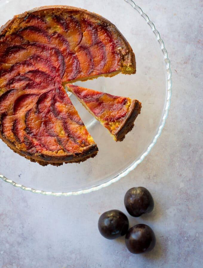 Vegan Plum Cake sliced with lemon syrup