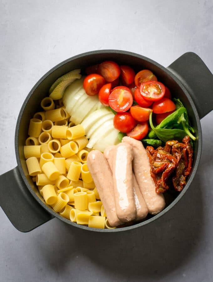 Ingredients in pot for veggie sausage pasta