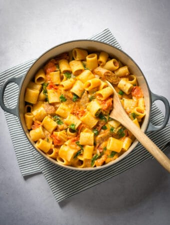Veggie Sausage Tomato Recipe with spoon
