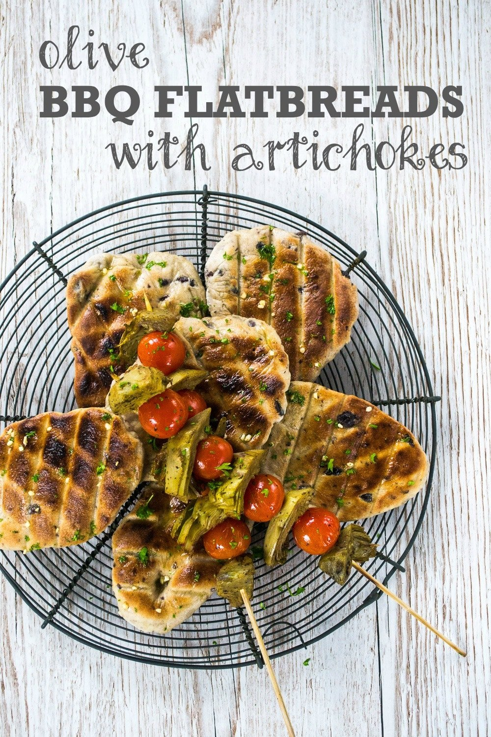 Olive BBQ Flatbreads with Artichokes
