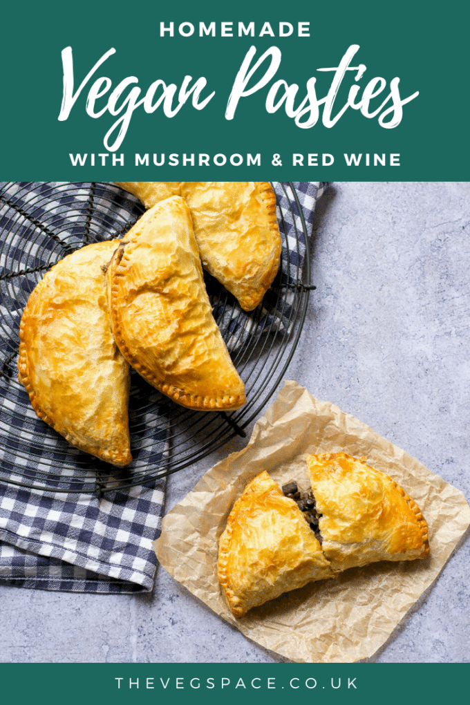 These vegan pasties with mushroom, lentils and red with are filling, easy to make and deeply delicious. Use ready made pastry or make your own! #vegan #TheVegSpace