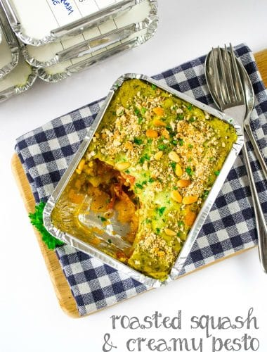 Vegan Lasagne with Roasted Butternut Squash and Creamy Pesto - perfect for freezing too! #vegan #plantbased | thevegspace.co.uk