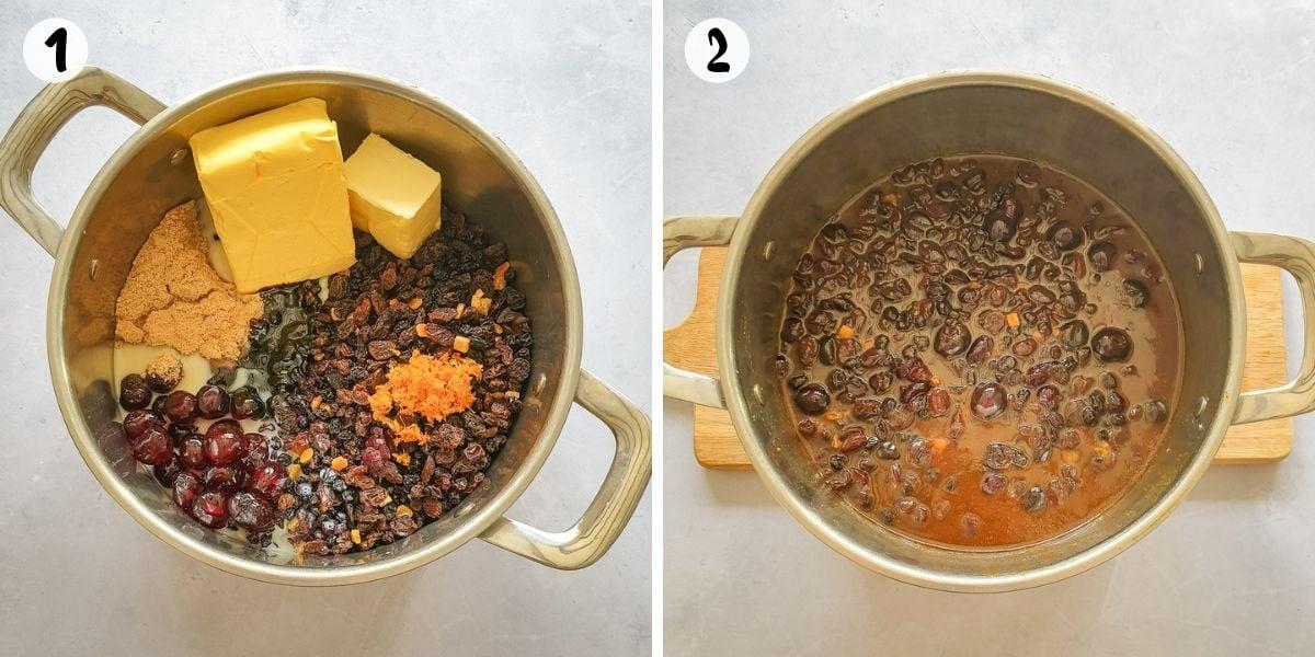 Mixing ingredients in large saucepan