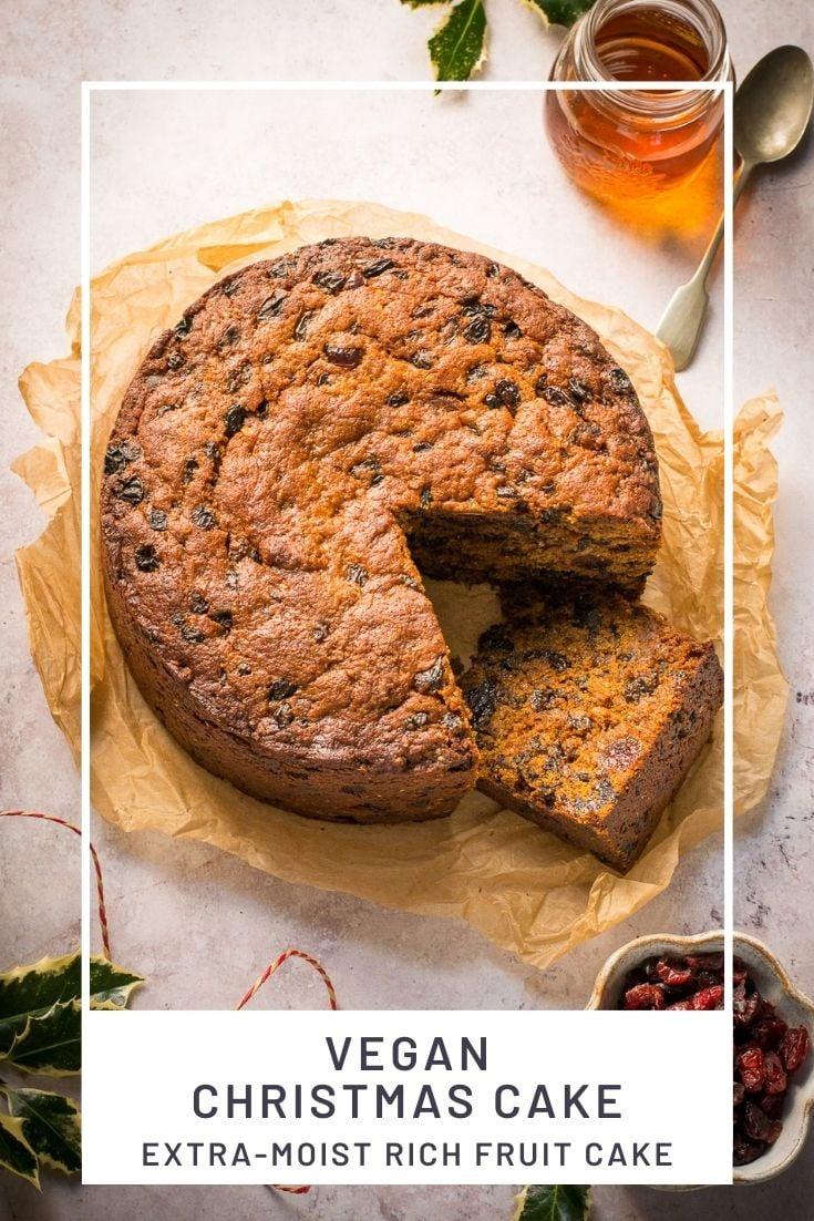 Pinterest Pin for Vegan Christmas Cake