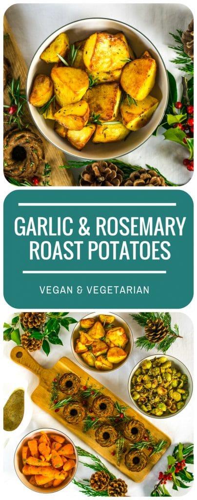 Garlic & Rosemary Roast Potatoes | Vegan & Vegetarian Christmas Dinner