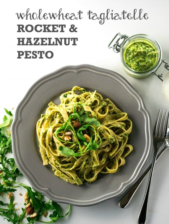Tagliatelle with Rocket & Hazelnut Pesto | Vegan & Vegetarian
