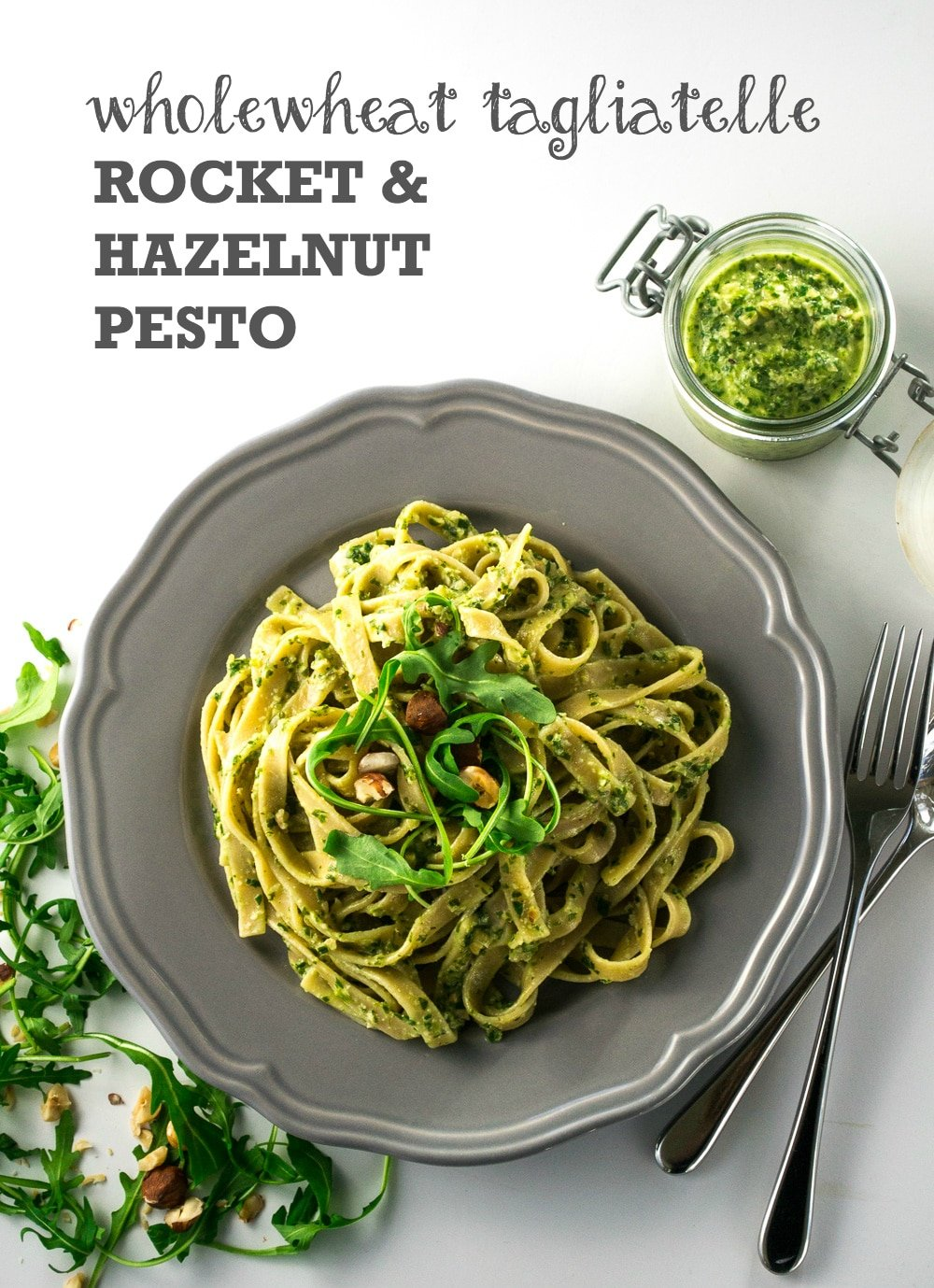 Tagliatelle with Rocket & Hazelnut Pesto | Vegan & Vegetarian