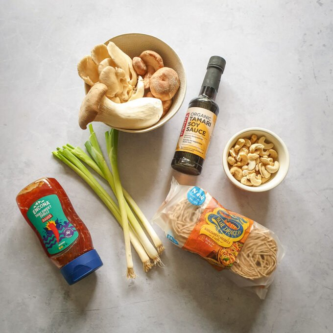 ingredients for sweet chilli noodles