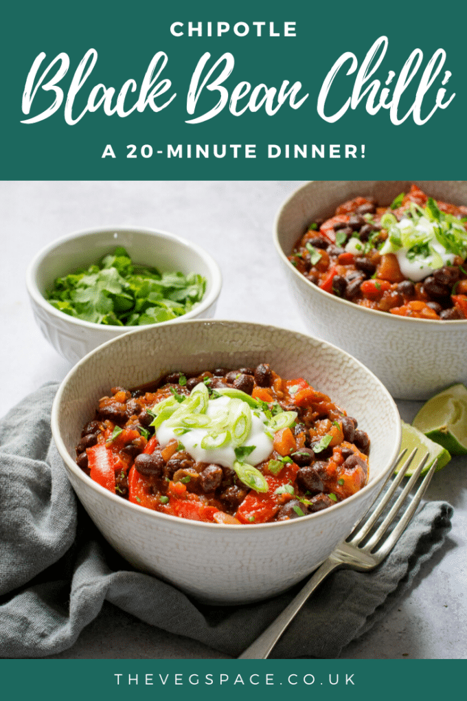 This smoky and spicy black bean chilli with chipotle paste is quick, easy and so versatile - a jacket potato filling, in fajitas or tacos, with rice and guacamole, or tortilla chips. #Vegan #TheVegSpace