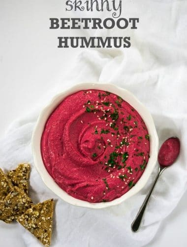 This skinny Beetroot Hummus is packed with flavour, lower-calorie but creamy and delicious, and perfectly pink! #vegan #vegetarian #plantbased | www.thevegspace.co.uk