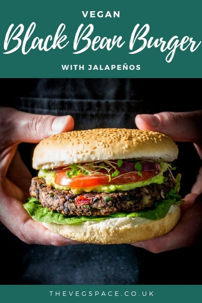 A spicy and juicy Black Bean Burger recipe with jalapeños - perfect vegan option for the BBQ or oven bake for a comfort food dinner at home