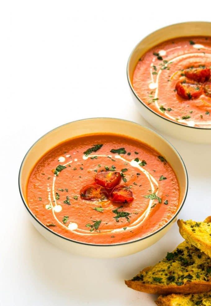 Roasted Tomato & Red Pepper Soup | Vegan & Vegetarian