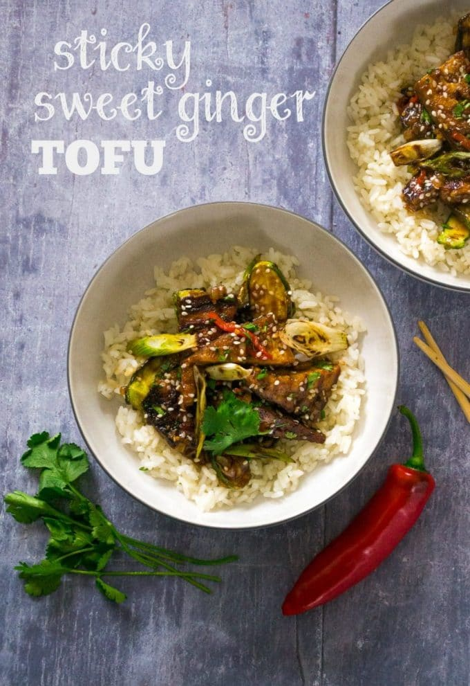 Sticky Sweet Ginger Tofu with Baby Courgettes | Vegan & Vegetarian