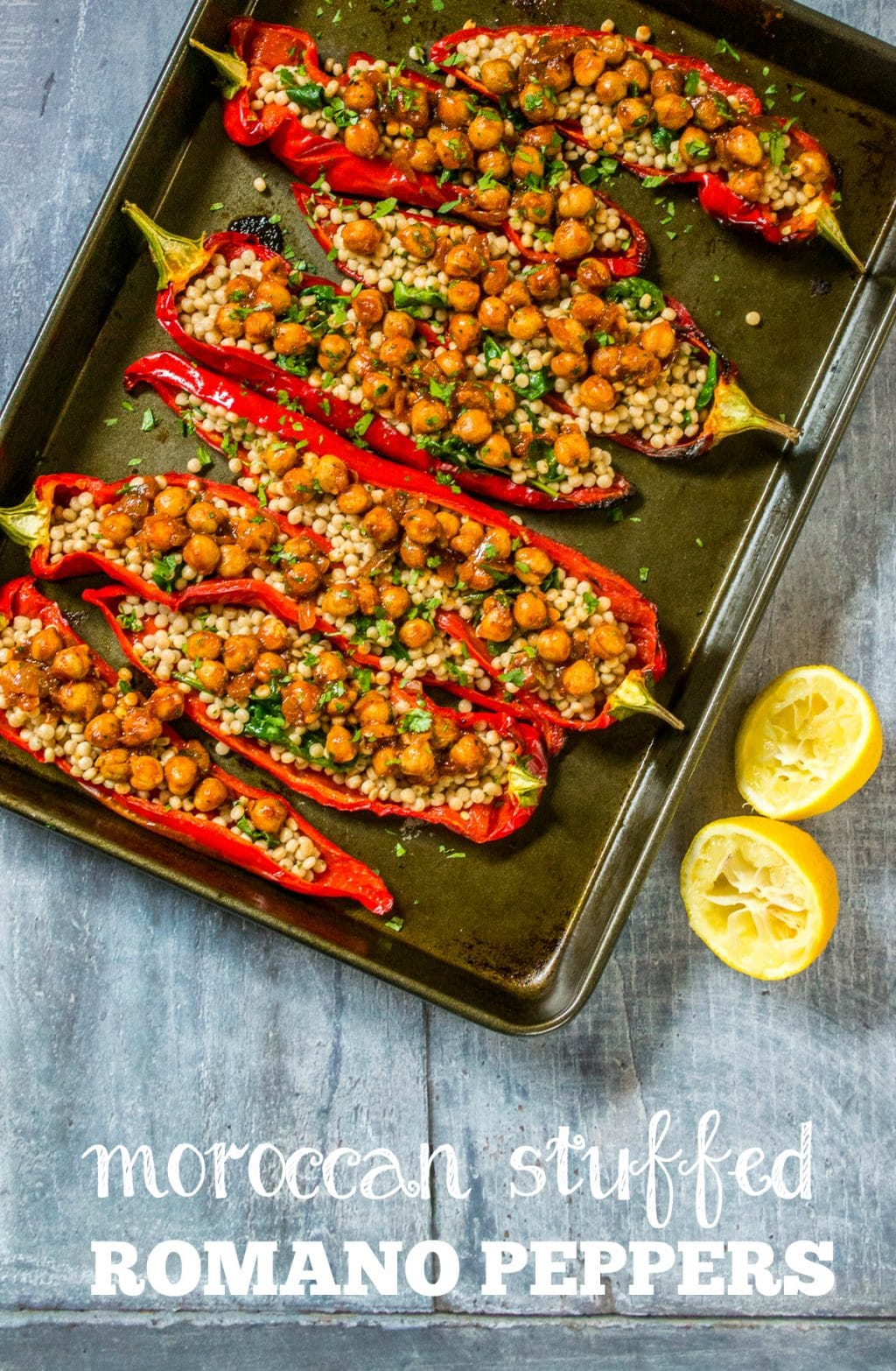 Moroccan Stuffed Romano Peppers | Vegan
