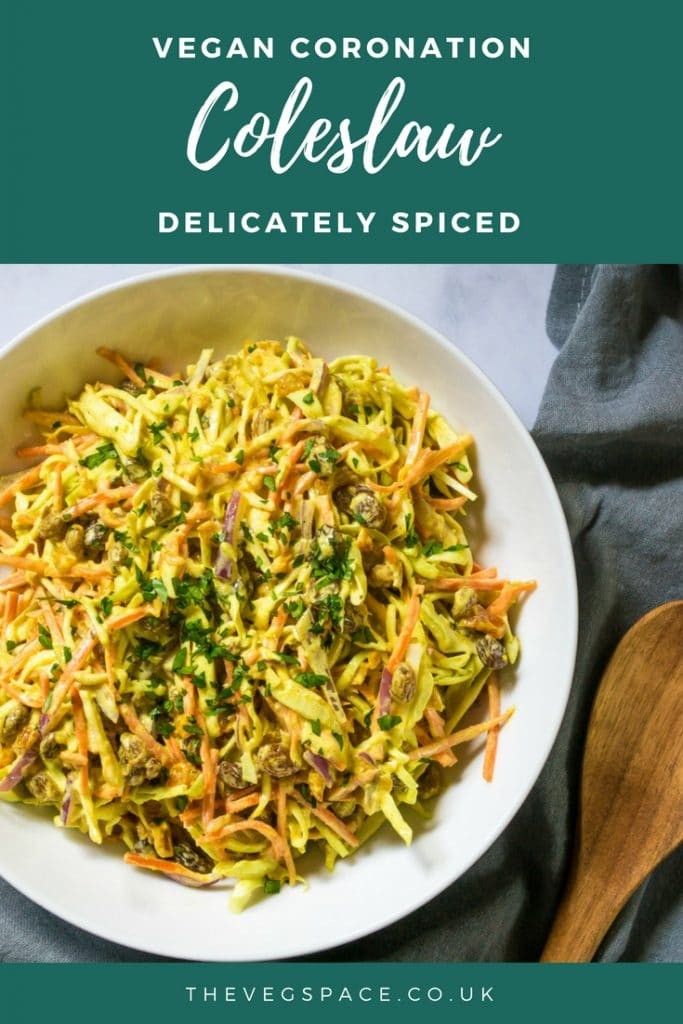 Vegan Coleslaw (Coronation-Style) - a classic vegan coleslaw with delicate Indian spices - perfect for a BBQ or buffet #vegan #plantbased #veganbbq | www.thevegspace.co.uk