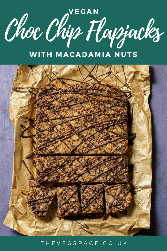Vegan Flapjacks with choc chips and macadamia nuts