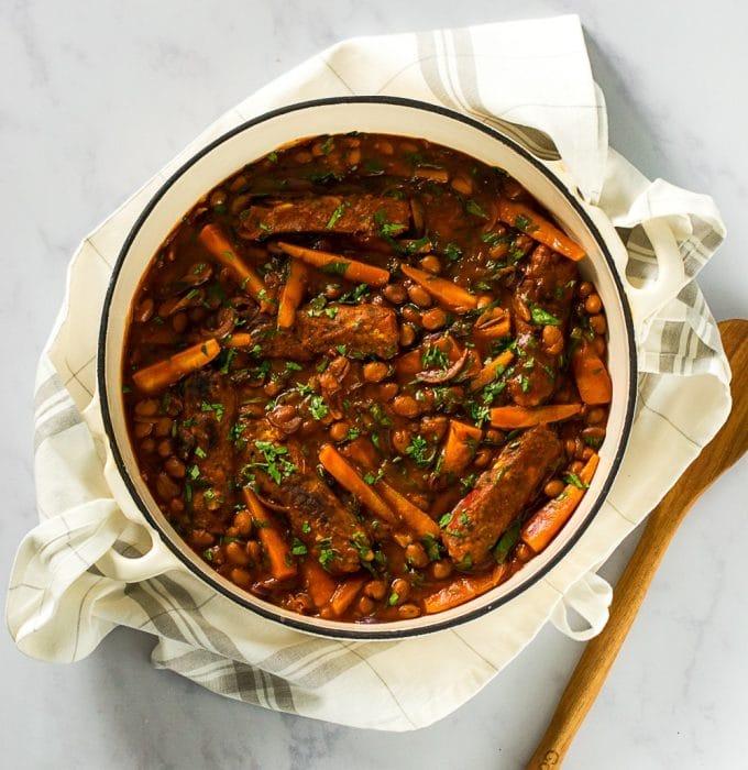 Vegan Sausage Casserole - Bangers & Borlotti Beans #vegan #plantbased   The Veg Space