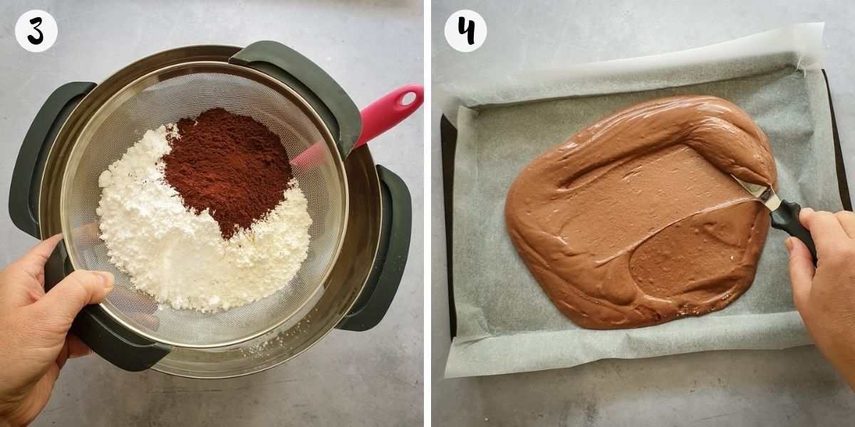 sift flour and cocoa